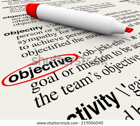 Objective word circled on a dictionary page showing the definition of the word meaning mission, goal, target or challenge - stock photo