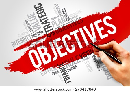 Objectives word cloud, business concept - stock photo