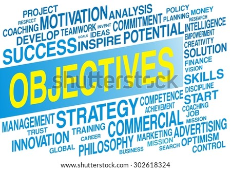 OBJECTIVES word cloud concept in blue color - stock photo