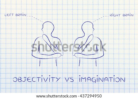 objectivity vs imagination: people looking towards opposite directions with captions left and right brain - stock photo