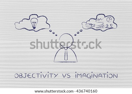 objectivity vs imagination: thoughtful businessman elaborating creative thoughts (right side of his brain) and analytical reasonings (his left side) - stock photo