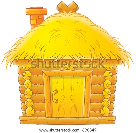 Cartoon Straw House Straw house stock photos,