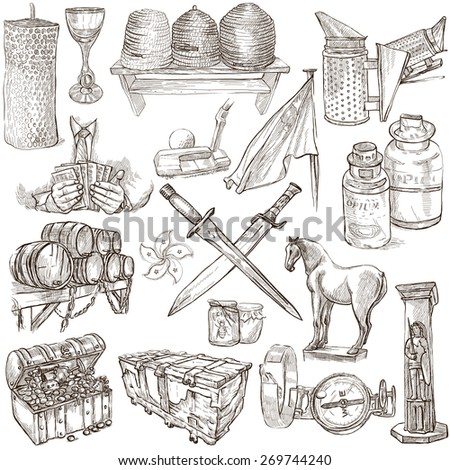 OBJECTS - Collection (no.5) of an hand drawn illustrations. Description - Full sized hand drawn illustrations, freehand sketches, drawing on white background. - stock photo