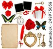objects for scrapbooking. letter paper, antique clock, key, photo and polaroid picture frame, feather pen, red rose flower, butterfly, ribbon bow, gift box - stock photo