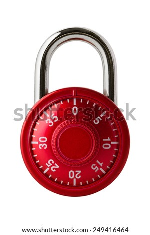 Objects: red combination lock, isolated on white background - stock photo