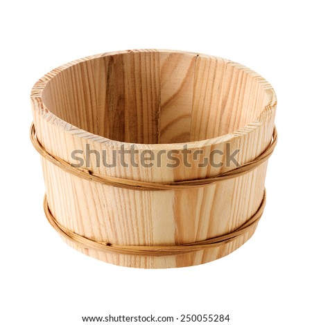 Objects: wooden tub isolated on white background. Object`s surface and edges are kept naturally rough. - stock photo