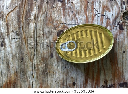 Oblong can with ring pull. Isolated on a white.top view - stock photo