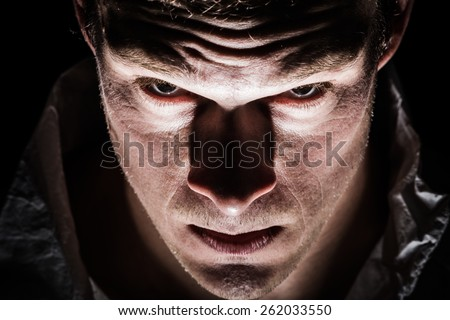 Obscure Freaky Psycho Man Closeup of the Eyes - stock photo