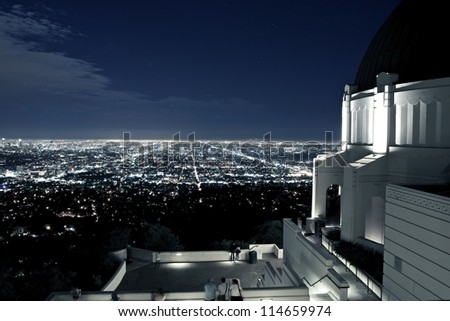 Observation Deck at Griffith Observatory, Los Angeles, California, USA. Los Angeles Scenic Night View. Architecture Photo Collection. - stock photo