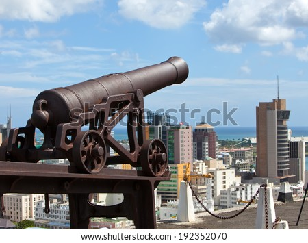 Observation deck in the Fort Adelaide on the Port-Louis- capital of Mauritius   - stock photo