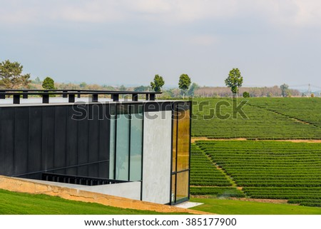 Observation deck on the top of modern building in tea plantation - stock photo