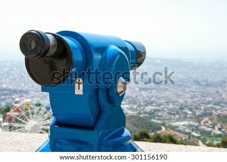 Observation deck with binoculars, view of Barcelona city, Spain - stock photo