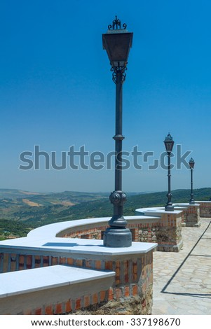 Observation deck with lanterns - stock photo