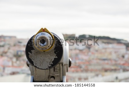 Observation telescope pointed to the Lisbon - stock photo