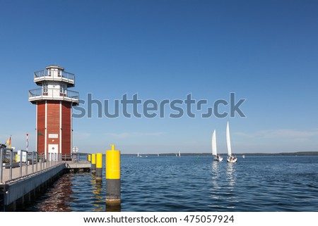 observation tower, lighthouse at Plauer See, Plau am See, Mecklenburg Western Pomerania, Germany
