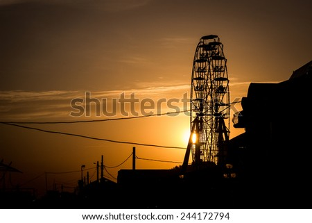 Observation wheel in the evening - stock photo