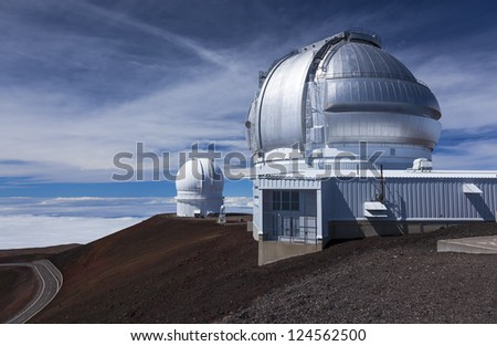 Observatories on Mauna Kea, Hawaii - stock photo