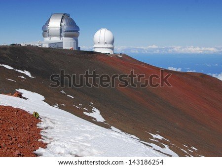 Observatories on Mauna Kea Summit, Big Island of Hawaii, USA - stock photo