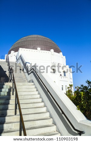 observatory in Griffith park in Los Angeles on a sunny day - stock photo
