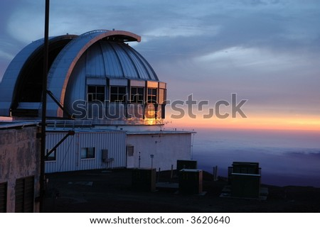 Observatory on Mauna Kea at Sunset - stock photo
