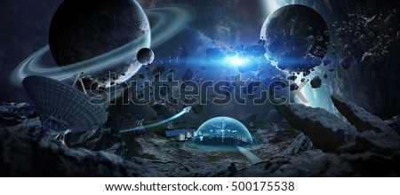 Observatory station in space on an asteroid with dome protection and radio telescope 3D rendering elements of this image furnished by NASA