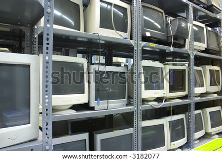 Obsolete crt monitors in a warehouse