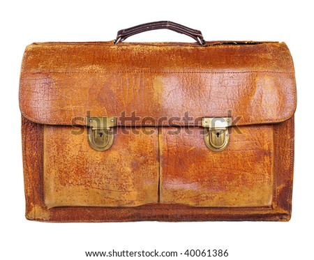 Obsolete dirty stained weathered retro briefcase isolated