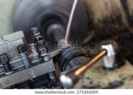 Obsolete Industry Machine working in factory - stock photo