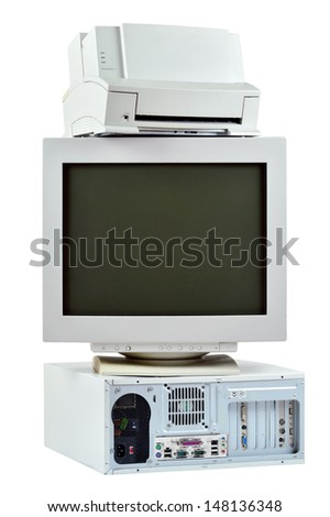 Obsolete PC commuter, printer and CRT monitor. Stack of old, used computer, monitor and printer, electronic waste isolated on white background. - stock photo