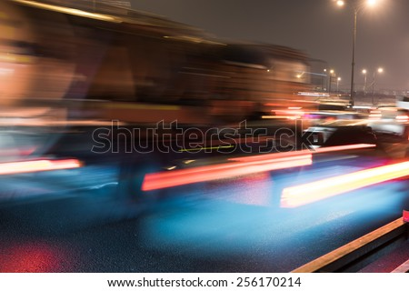 obstruction concept in night traffic street at the Moscow Automobile Ring Road (MKAD) - stock photo