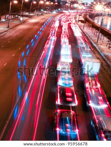 obstruction concept in night traffic streets - stock photo