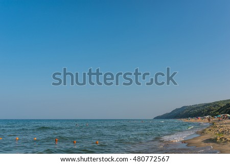 OBZOR, BULGARIA - AUG 05, 2016: Irakli Beach. People relax on the beach. Picture taken during a trip to Bulgaria.