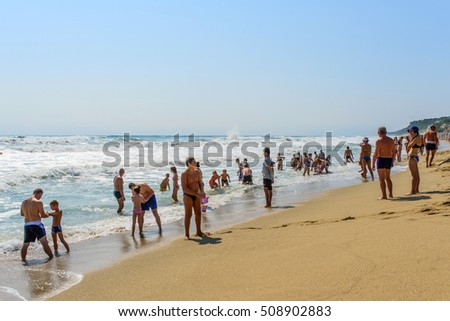 OBZOR, BULGARIA - AUG 11, 2016: People relax on the beach. City beach.  Picture taken during a trip to Bulgaria.