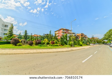 OBZOR, BULGARIA - JUL 12, 2017: Street Chernomorskaya. Private sector. Architecture and streets of the town of Obzor in Bulgaria.