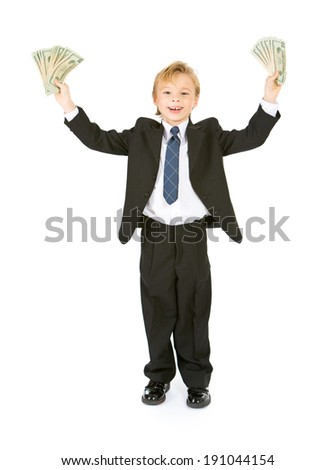 Occupations: Business Boy Cheers With Money Fans In Hands - stock photo