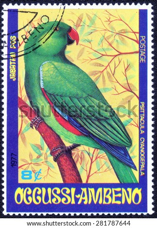 "OCCUSSI-AMBENO- CIRCA 1972: A stamp printed in OCCUSSI-AMBENO shows a series of images ""species of tropical birds"", circa 1972"