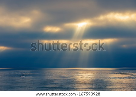 Ocean after storm, California, US - stock photo