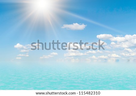 Ocean and clouds it is low over water in the afternoon. - stock photo