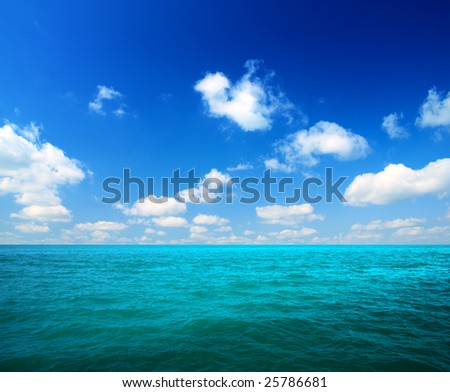ocean and white clouds