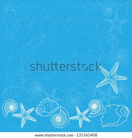 Ocean background with sea stars and shells. Raster version. - stock photo