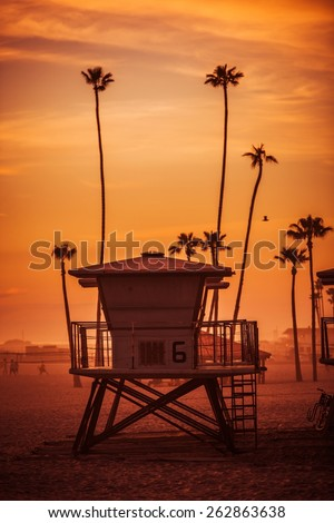 Ocean Beach Lifeguard Tower. Oceanside California Lifeguard Tower and the Beach at Sunset. United States. - stock photo