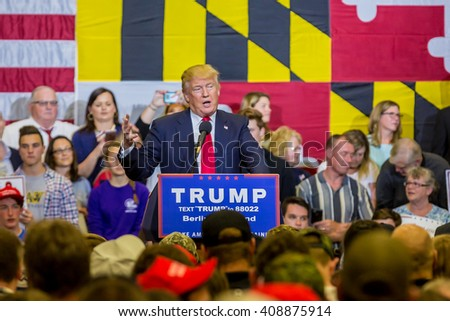 OCEAN CITY - APRIL 20: Republican candidate in presidential race DOnald Trump talking to supporters in Ocean City, MD on April 20, 2016 - stock photo