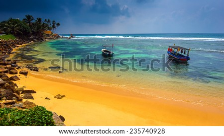 Ocean coast of Sri Lanka in the tropics - stock photo