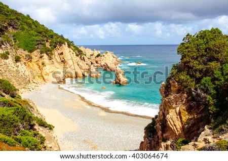 Ocean coastline landscape view in Costa Paradiso, Sardinia, Italy - stock photo