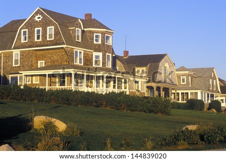 Ocean front house on Scenic route 1 at sunset, Misquamicut, RI - stock photo