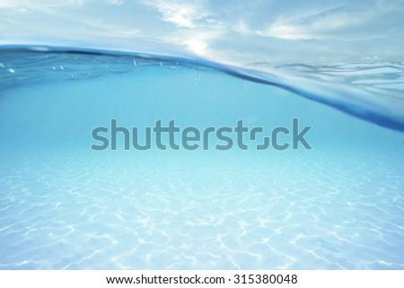 ocean half water with sky - stock photo