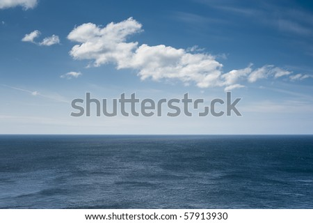ocean horizon with clouds