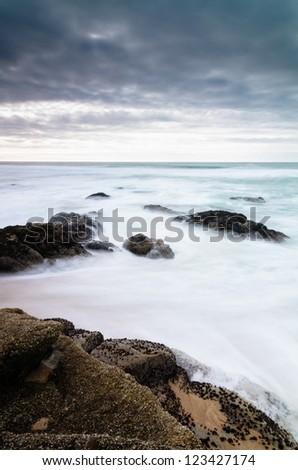 Ocean horizont before storm - California - stock photo