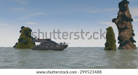 ocean landscape with cliffs and motor yacht