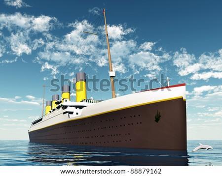Ocean Liner Computer generated 3D illustration - stock photo